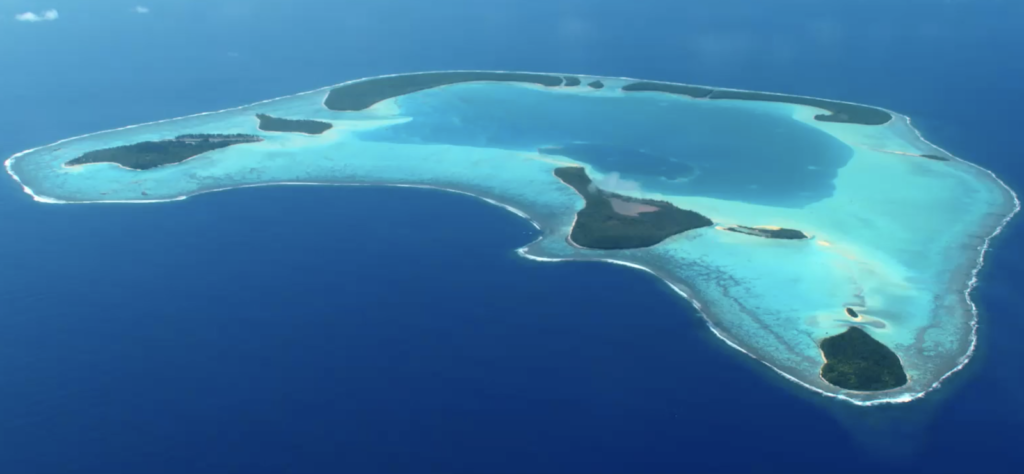 Aerial view of Tetiaroa atoll